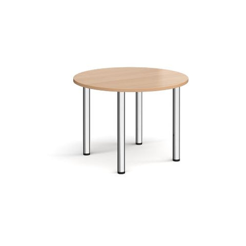 Circular chrome radial leg meeting table 1000mm - beech - Furniture