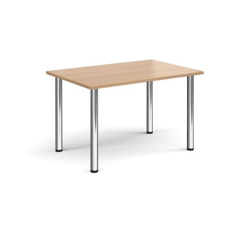 Rectangular chrome radial leg meeting table 1200mm x 800mm - beech - Furniture