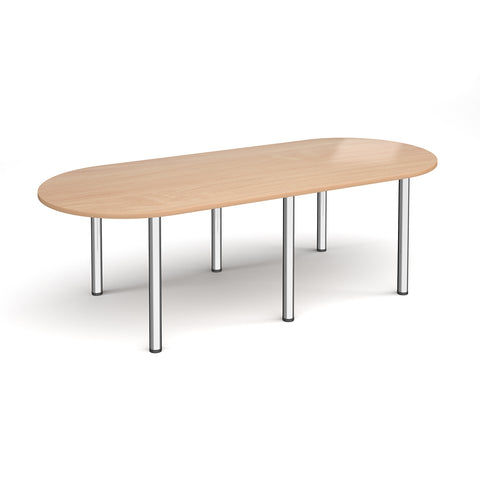 Radial end meeting table 2400mm x 1000mm with 6 chrome radial legs - beech - Furniture