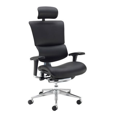 Dynamo Ergo leather posture chair with chrome base and head rest - black - Furniture