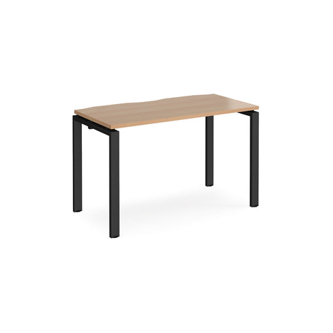 Adapt single desk 1200mm x 600mm - black frame, top - Furniture