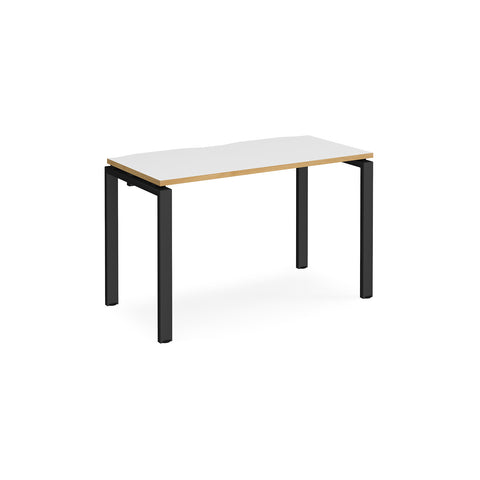 Adapt single desk 1200mm x 600mm - black frame, white top with oak edging - Furniture