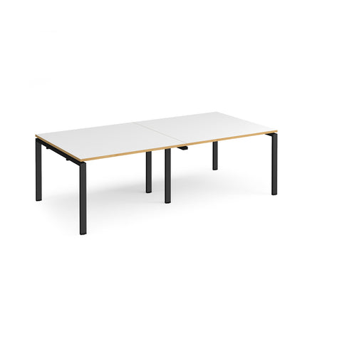 Adapt rectangular boardroom table 2400mm x 1200mm - black frame, white top with oak edging - Furniture