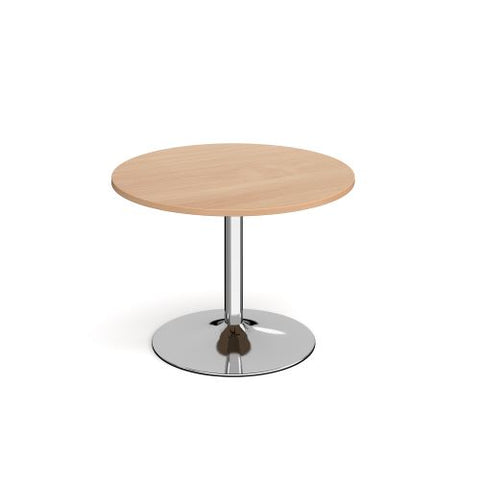 Genoa circular dining table with chrome trumpet base 1000mm - beech - Furniture