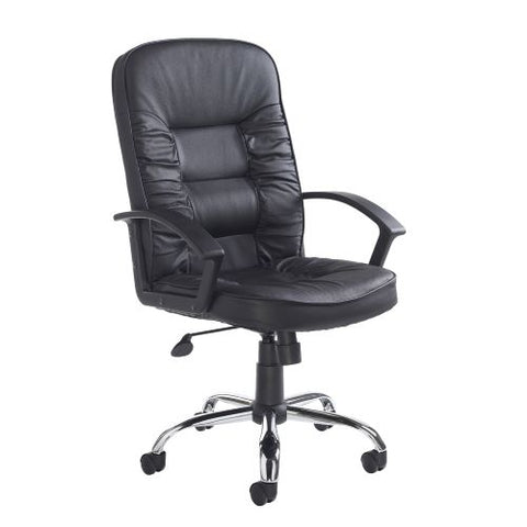 Hertford high back managers chair - black leather faced - Furniture