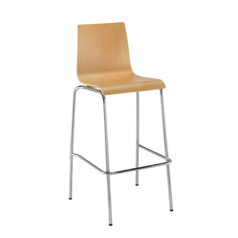 Fundamental dining stool in beech with chrome frame - Furniture