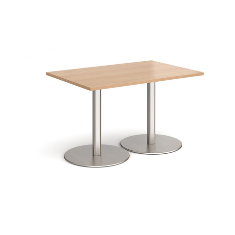 Monza rectangular dining table with flat round brushed steel bases 1200mm x 800mm - beech - Furniture