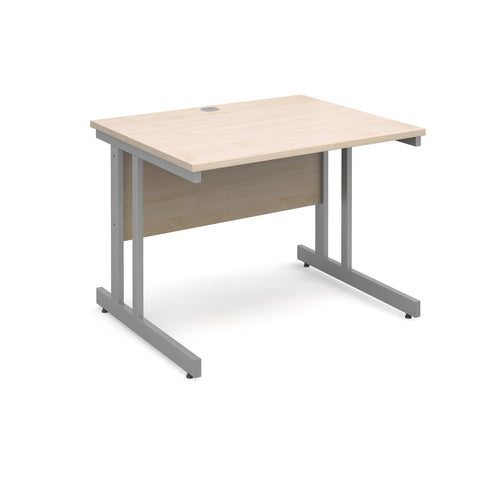 Momento straight desk 1000mm x 800mm - silver cantilever frame, maple top - Furniture