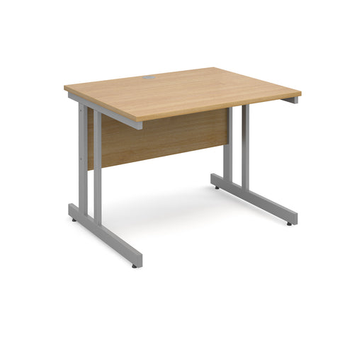 Momento straight desk 1000mm x 800mm - silver cantilever frame, oak top - Furniture
