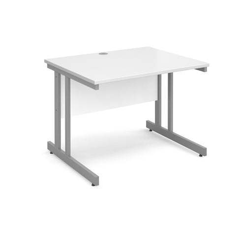 Momento straight desk 1000mm x 800mm - silver cantilever frame, white top - Furniture