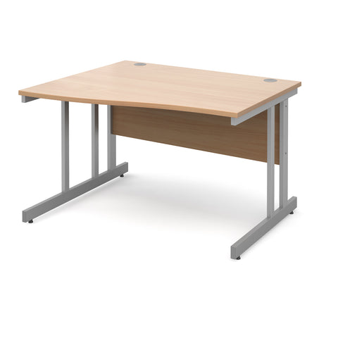 Momento left hand wave desk 1200mm - silver cantilever frame, beech top - Furniture