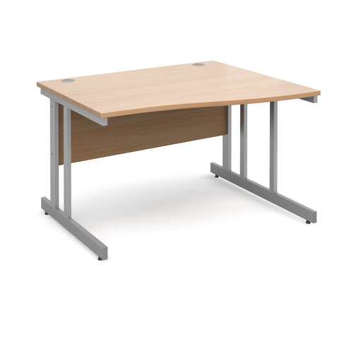 Momento right hand wave desk 1200mm - silver cantilever frame, beech top - Furniture