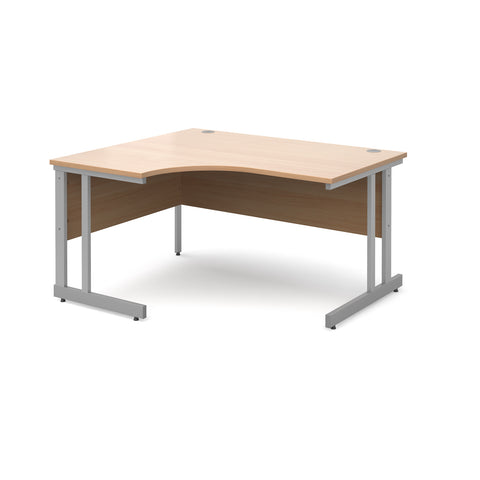 Momento left hand ergonomic desk 1400mm - silver cantilever frame, beech top - Furniture