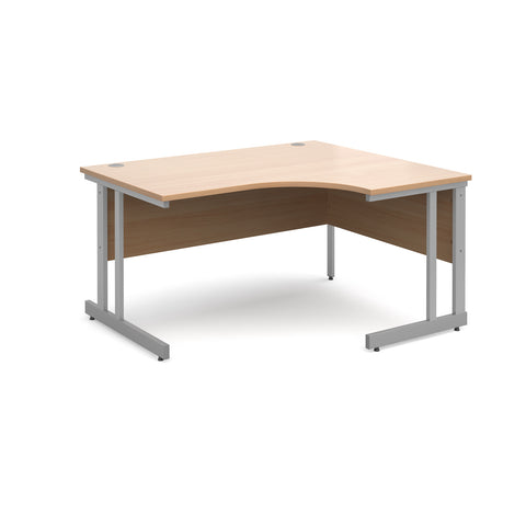 Momento right hand ergonomic desk 1400mm - silver cantilever frame, beech top - Furniture