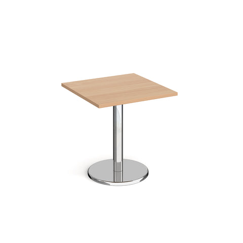 Pisa square dining table with round chrome base 700mm - - Furniture
