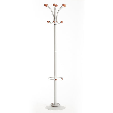 Coat & umbrella stand with 12 coat hooks and 4 umbrella hooks 1840mm high - silver - Furniture