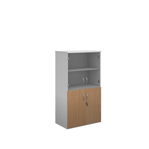 Duo combination unit with glass upper doors 1440mm high with 3 shelves - white with beech lower doors - Furniture