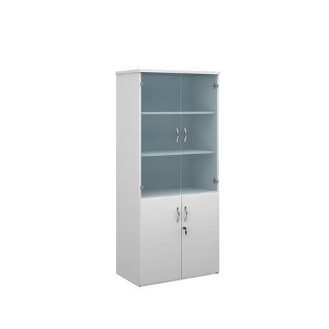 Duo combination unit with glass upper doors 1790mm high with 4 shelves - white - Furniture