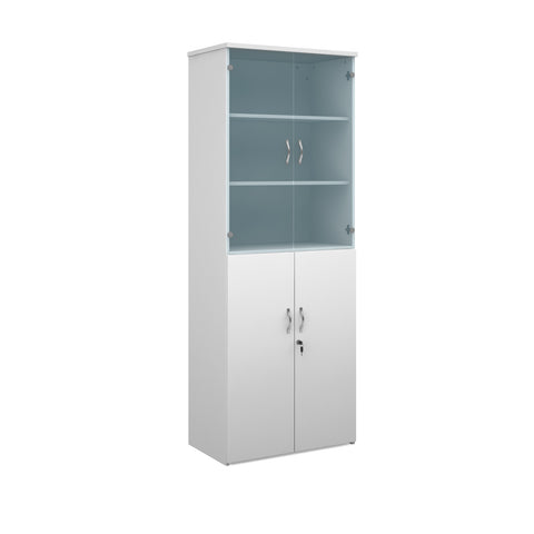 Duo combination unit with glass upper doors 2140mm high with 5 shelves - white - Furniture