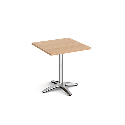 Roma square dining table with 4 leg chrome base 700mm - - Furniture