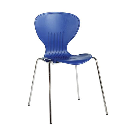 Sienna one piece shell chair with chrome legs (pack of 4) - - Furniture