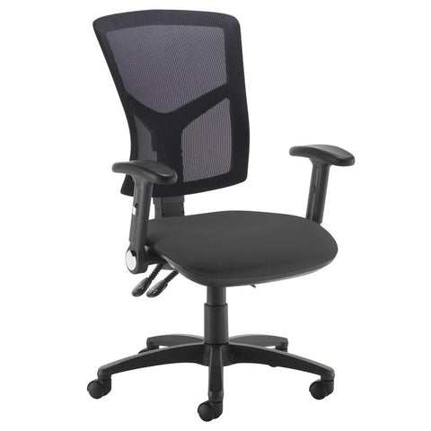 Senza high mesh back operator chair with folding arms - - Furniture