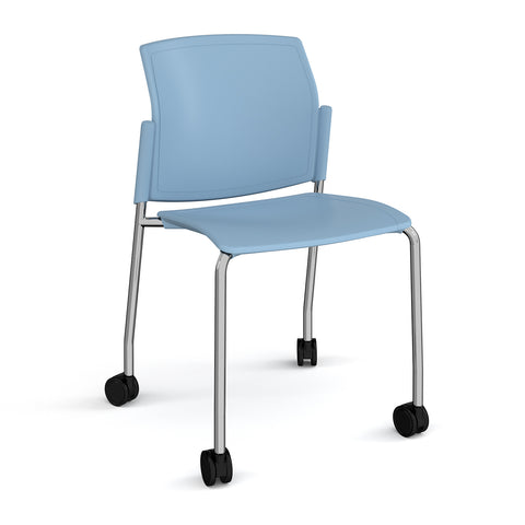 Santana 4 leg mobile chair with plastic seat and back, chrome frame with castors and no arms - - Furniture
