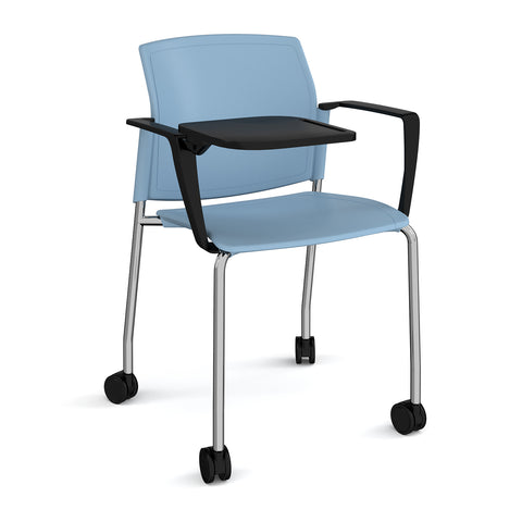 Santana 4 leg mobile chair with plastic seat and back, chrome frame with castors, arms and writing tablet - - Furniture