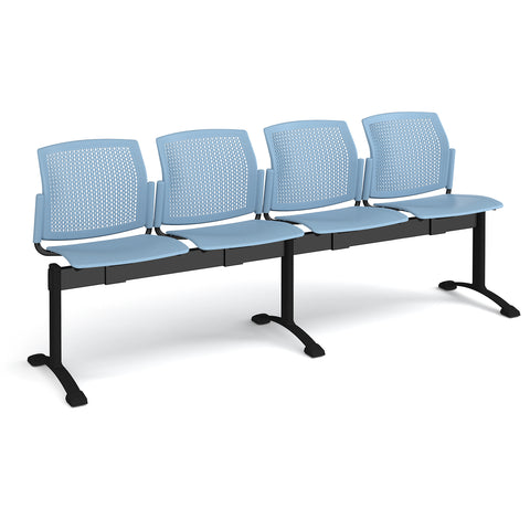 Santana perforated back plastic seating - bench 4 wide with 4 seats - blue - Furniture
