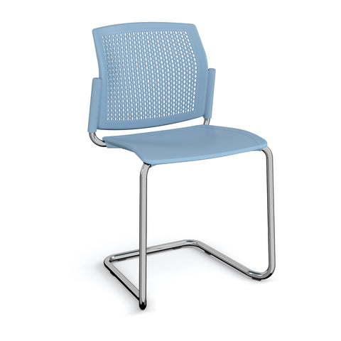 Santana cantilever chair with plastic seat and perforated back, chrome frame and no arms - - Furniture