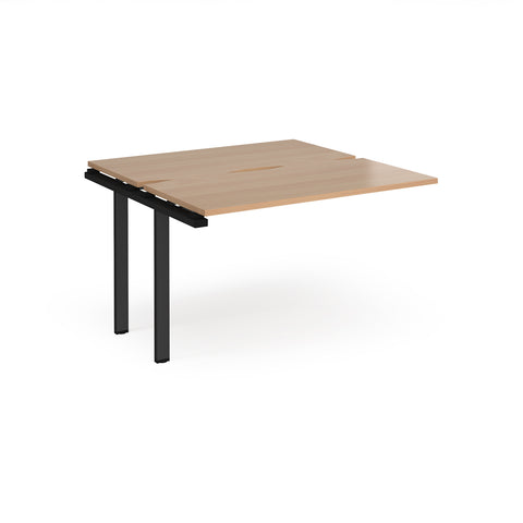 Adapt sliding top add on unit single 1200mm x 1200mm - black frame, beech top - Furniture