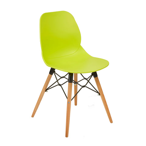 Strut multi-purpose chair with natural oak 4 leg frame and black steel detail - lime green - Furniture