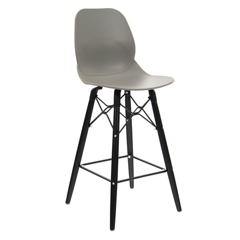 Strut multi-purpose stool with black oak 4 leg frame and black steel detail - grey - Furniture