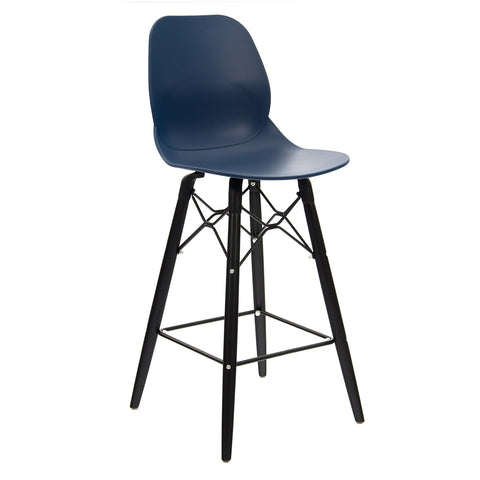 Strut multi-purpose stool with black oak 4 leg frame and black steel detail - navy blue - Furniture