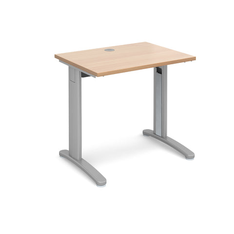 TR10 straight desk 800mm x 600mm - silver frame, beech top - Furniture