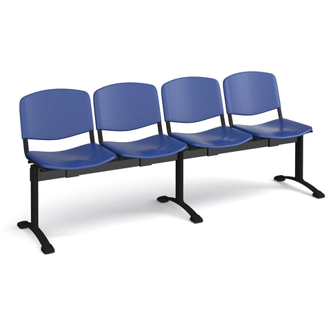 Taurus plastic seating - bench 4 wide with 4 seats - blue - Furniture