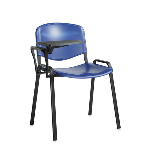Taurus plastic meeting room chair with writing tablet - blue with black frame - Furniture