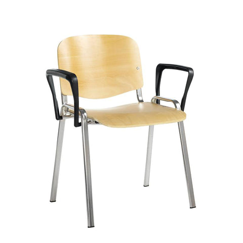Taurus wooden meeting room stackable chair with fixed arms - beech with chrome frame - Furniture