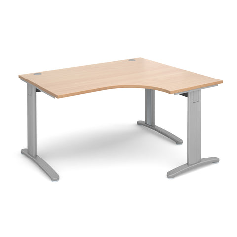 TR10 deluxe right hand ergonomic desk 1400mm - silver frame, beech top - Furniture
