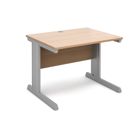 Vivo straight desk 1000mm x 800mm - silver frame, beech top - Furniture