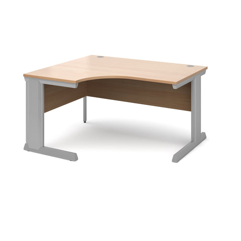 Vivo left hand ergonomic desk 1400mm - silver frame, beech top - Furniture