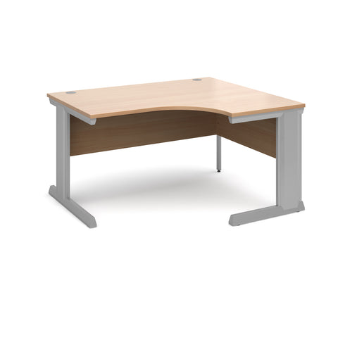 Vivo right hand ergonomic desk 1400mm - silver frame, beech top - Furniture