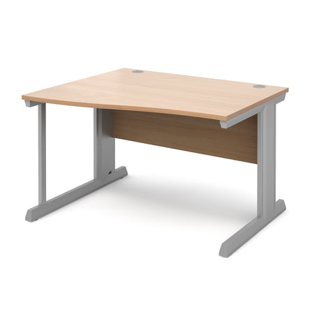 Vivo left hand wave desk 1200mm - silver frame, beech top - Furniture