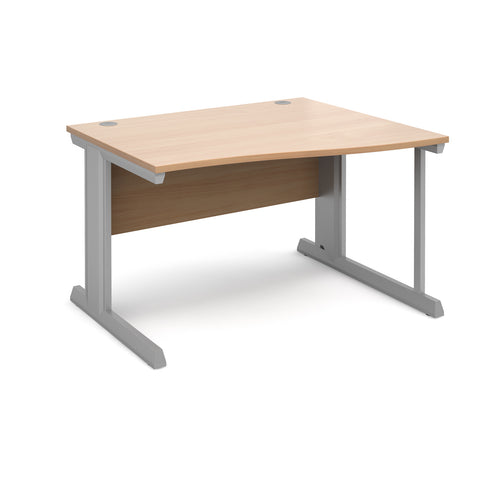 Vivo right hand wave desk 1200mm - silver frame, beech top - Furniture