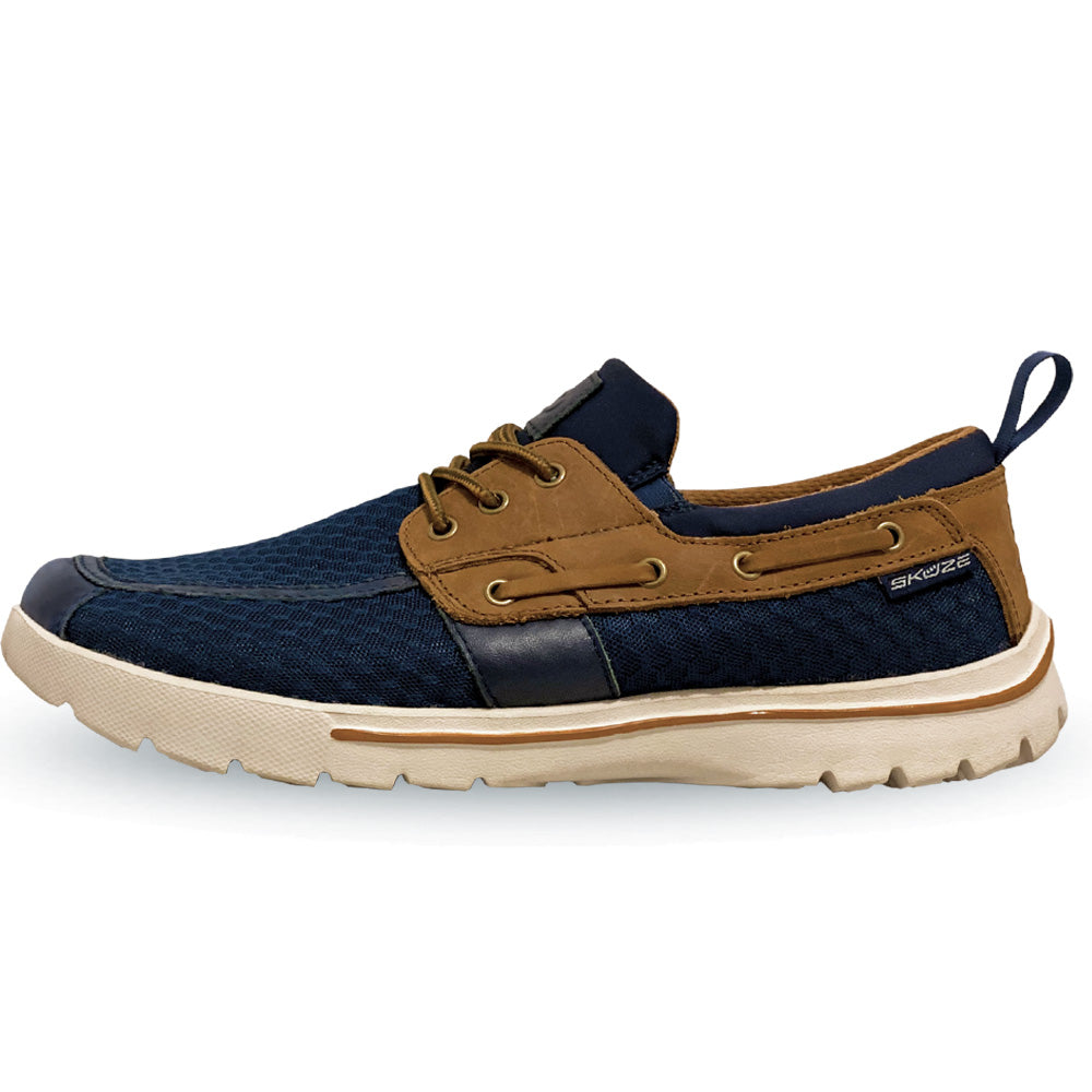 Del Marina by Skuze Shoes - Navy & Brown - Stretch Fit