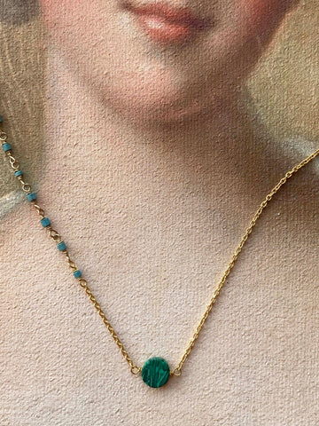 Malachite Disc Necklace