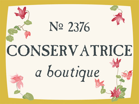 No. 2376 - Conservatrice - A Boutique - Gold border with vanilla background - flowers blooming with petals on corners