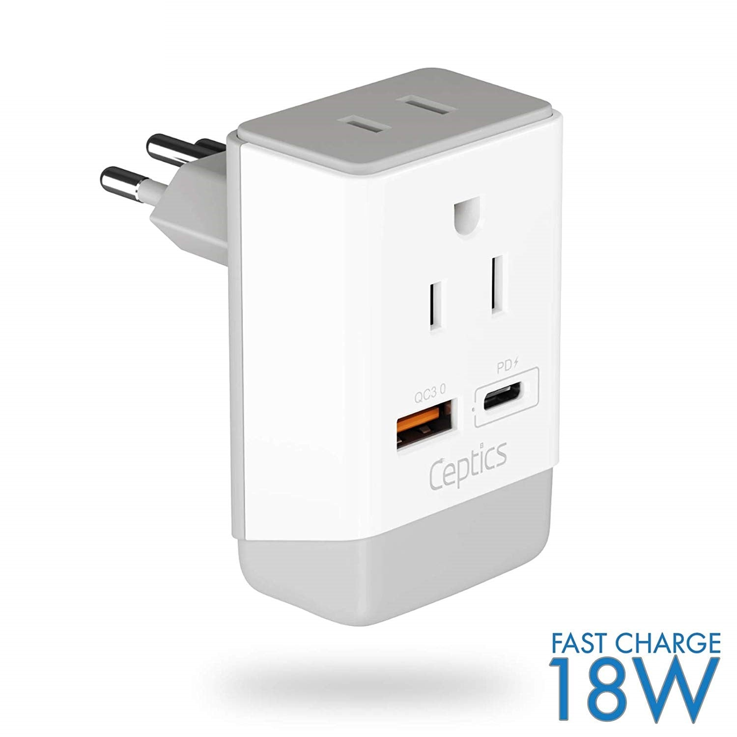 Europe Schuko, Italy Travel Adapter Plug With Dual USB - Type C, L - 2 Pack