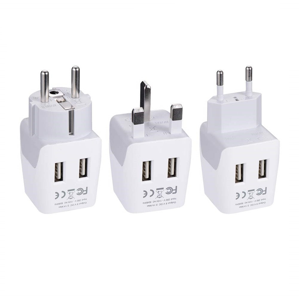 Ceptics 3pcs European Travel Adapter Set – Type E/F, G, C - With Dual USB (CTU-EU-SET)