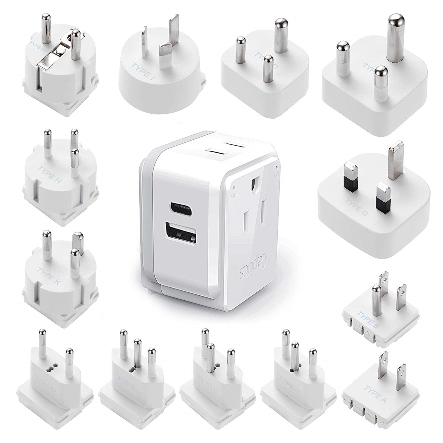 USA Travel Adapter - Type B - 4 in 1 - 2 USB Ports (GP4-5)